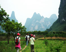 hiking along the Li River