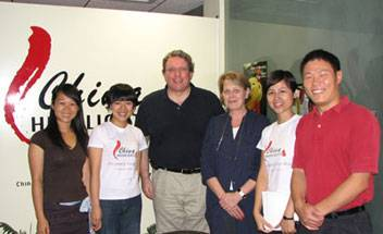 Declan Kelleher and his wife Sigrun Kelleher with China Highlights staff