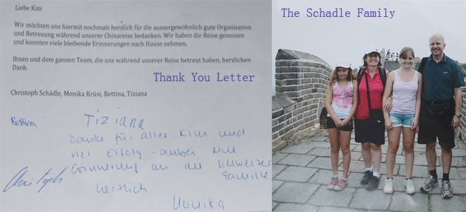 the Schadle Family and their thank you letter