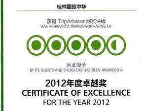 The Certificate of Excellence for the year 2012