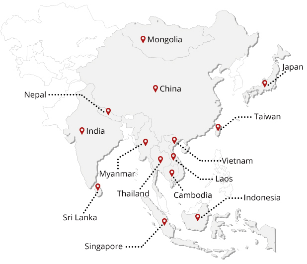 Destinations of Asia Highlights