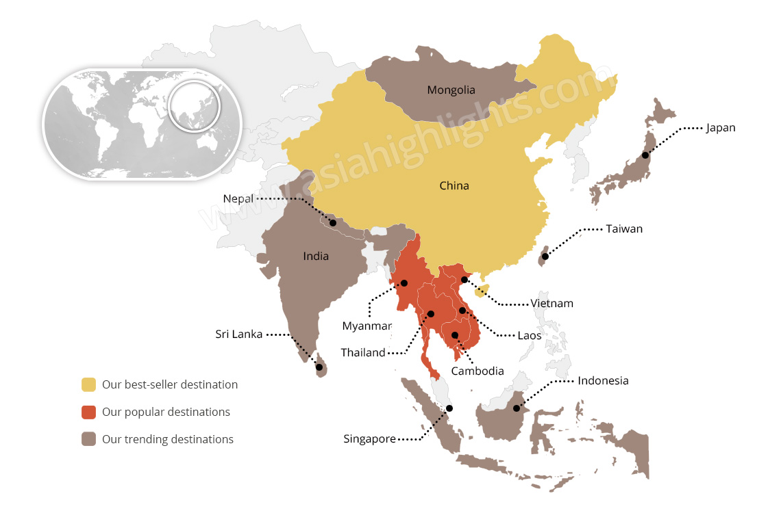 Asia Destination Map