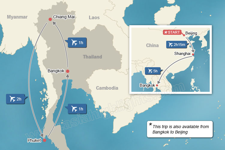 map of China and Thailand highlights tour