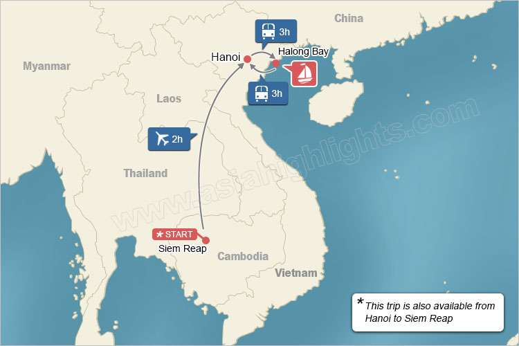 map of real experience Cambodia and Vietnam tour
