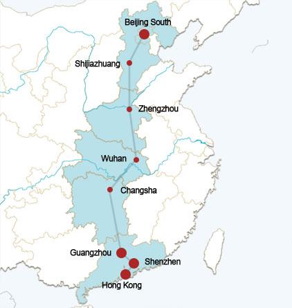 Beijing-Hongkong Rail Route