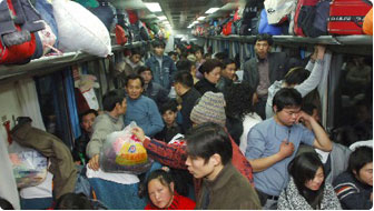 Crowded Chinese hard seat train carriage