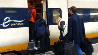 Eurostar train boarding