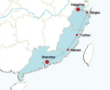 Hangzhou-Shenzhen Rail Route