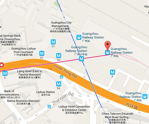 Guangzhou Railway Station on Map