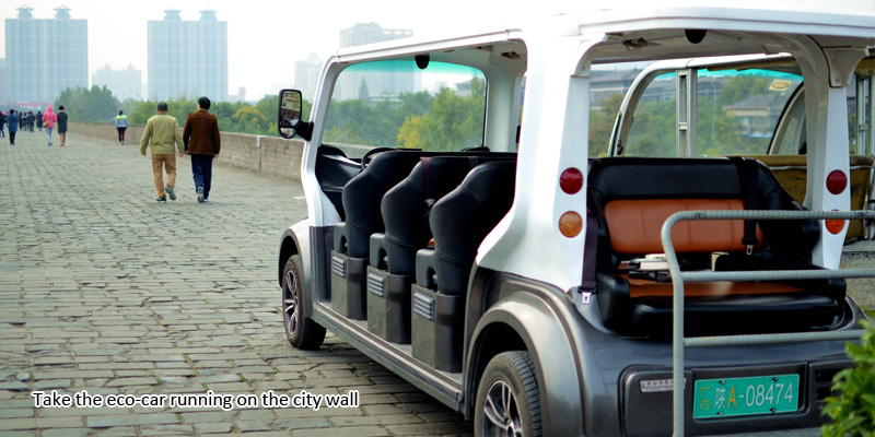 take the eco-car running on the city wall