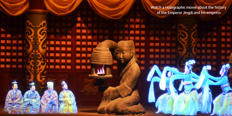 Watch a holographic movie about the history of the Emperor Jingdi and his empress