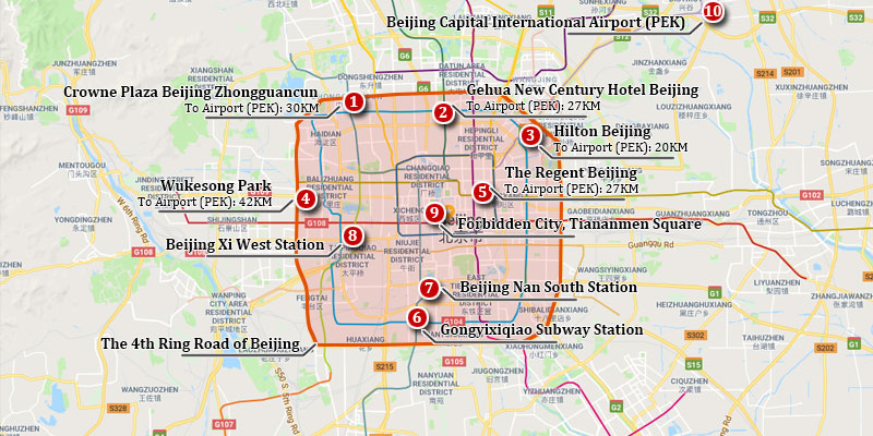 Hotel Pick-up and Drop-off Area Map of Beijing City