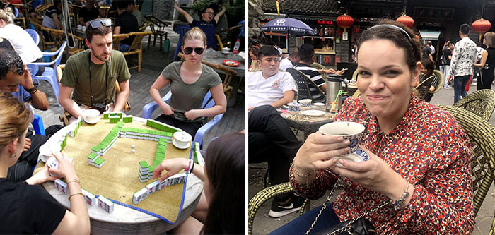 Playing mahjong and drinking tea in Chengdu People's Park