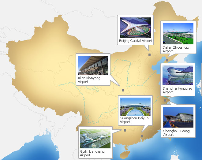 China Airports on Map