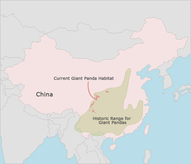 Map of Current and Historic Range of Giant Pandas