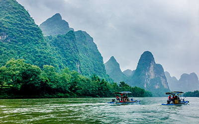 Li River and karst mountains