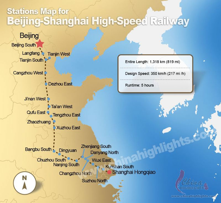 Beijing Shanghai High-Speed Railway Map