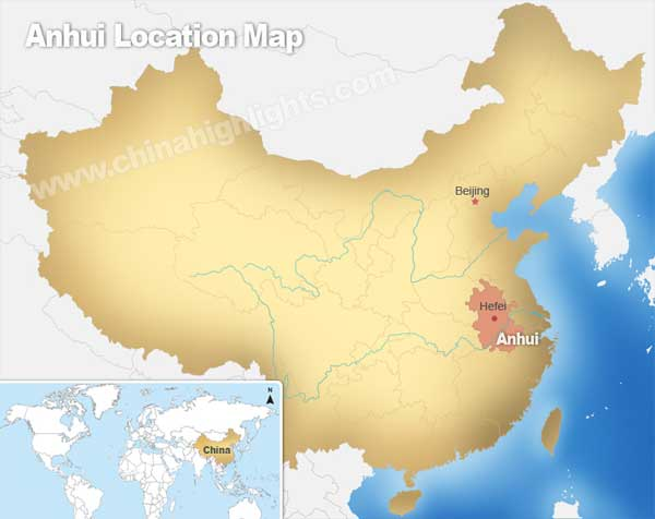 Anhui Location Map