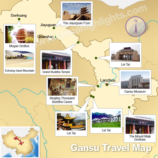 Gansu Attractions Map