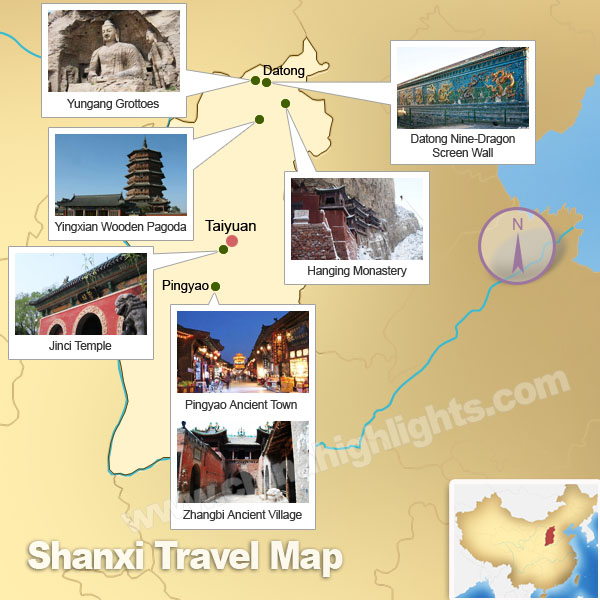 Shanxi Attractions Map