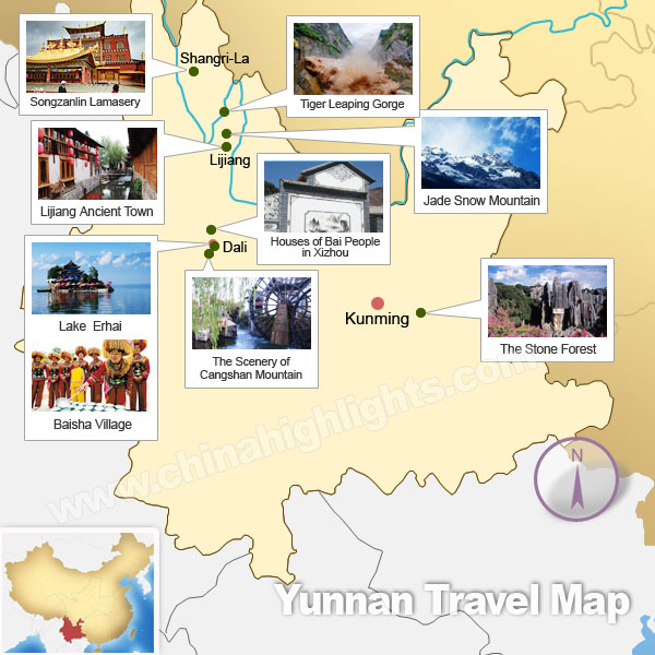 Yunnan Attractions Map