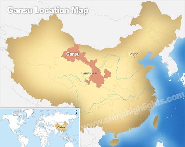 Gansu Location Map