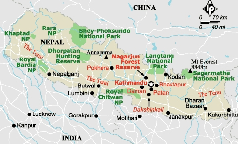 nepal location in China