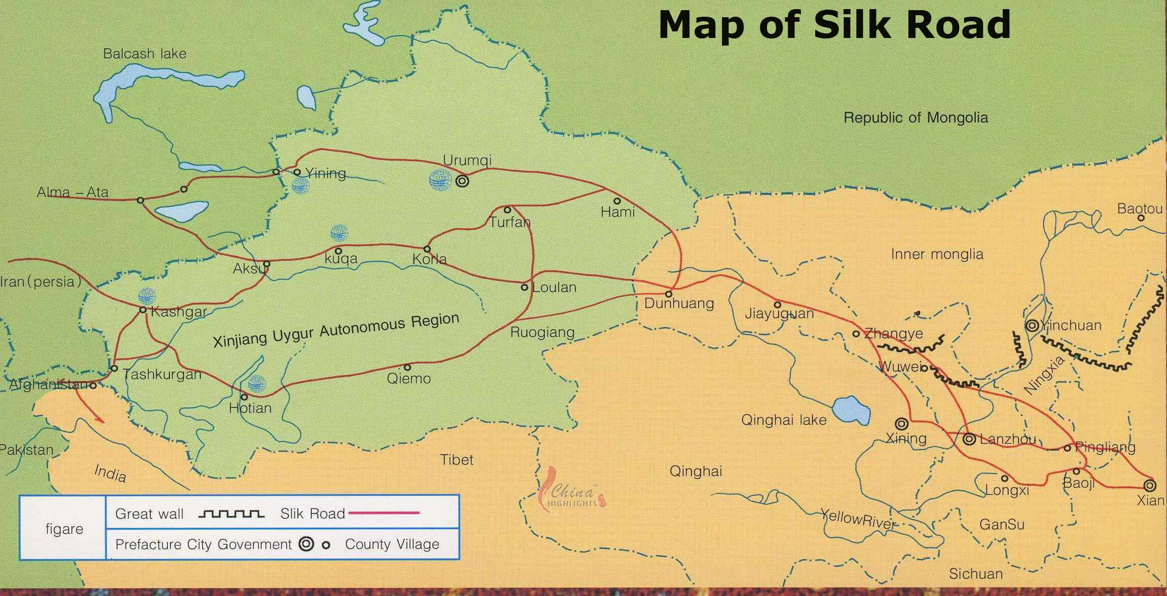 Map of Silk Road