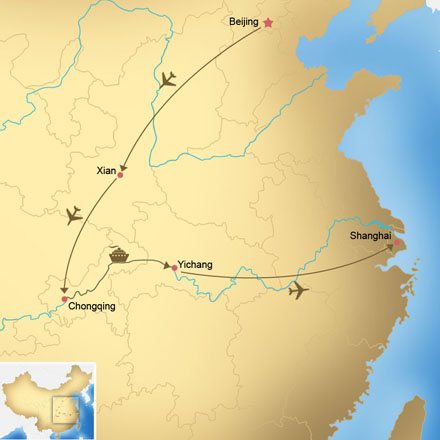 Map of Beijing, Xi'an, and Shanghai Tour