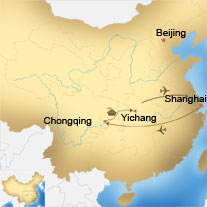 Map of Shanghai, Chongqing, Yangtze and Yichang Tour