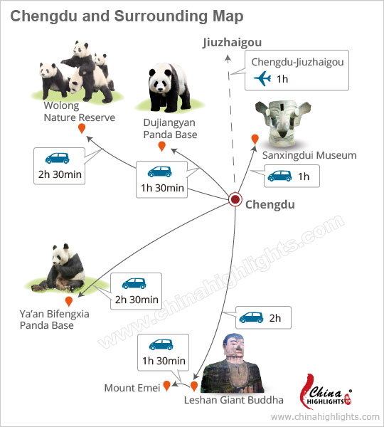 Chengdu attraction map