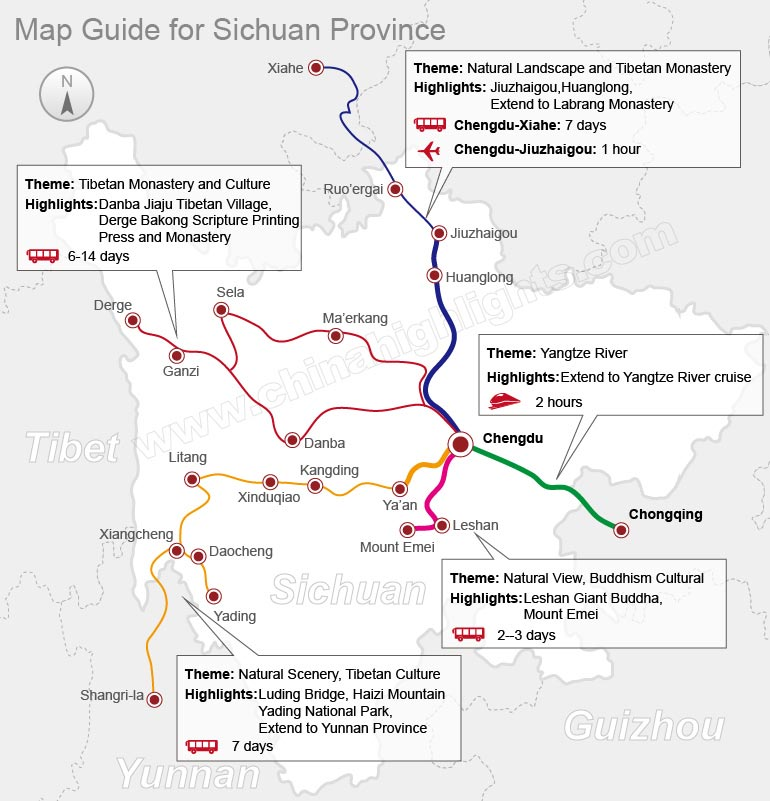 Map Guide around Chengdu