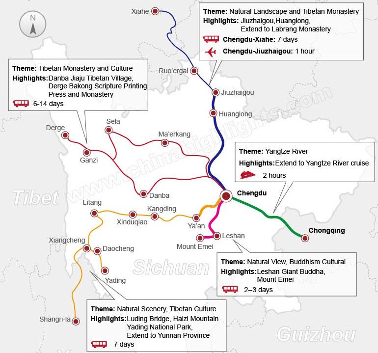 Map Guide around Chengdu