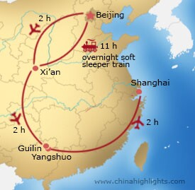 Map of Beijing - Xi'an - Guilin/Yangshuo – Shanghai