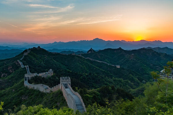 romantic sunset at the Great Wall
