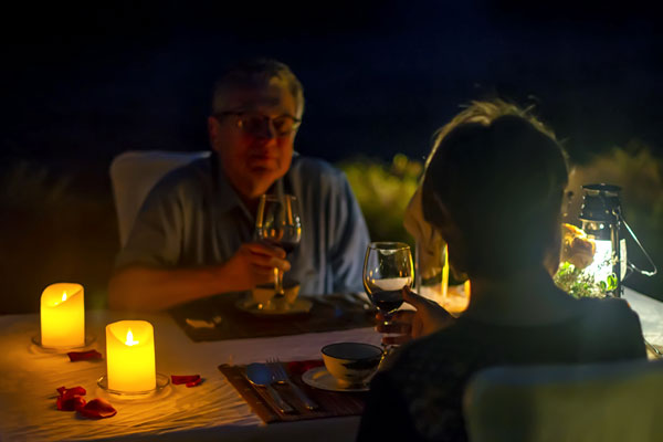 romantic candlelit dinner along Yulong River