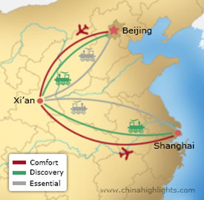 Map of Beijing-Xian-Shanghai