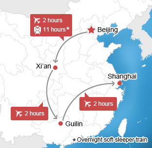 Map of Beijing-Xian-Guilin-Shanghai