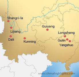 Map of Guilin-Guizhou-Yunnan