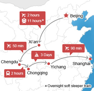 Map of Beijing - Xi'an - Chengdu - Yangtze – Shanghai