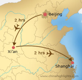 Map of Beijing–Xi'an–Shanghai