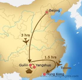 Map of Beijing–Guilin–Hong Kong