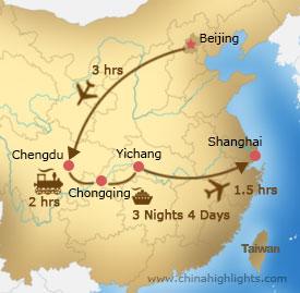 Map of Beijing–Chengdu-Yangtze-Shanghai