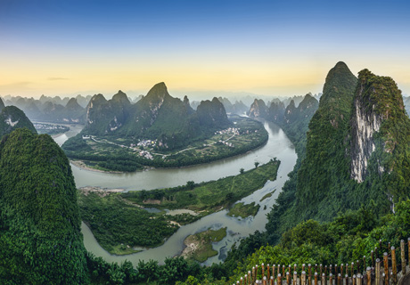 The Li River and the mountains