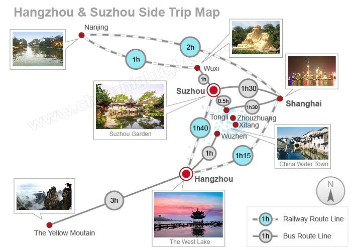 Hangzhou-Suzhou Tourist Map