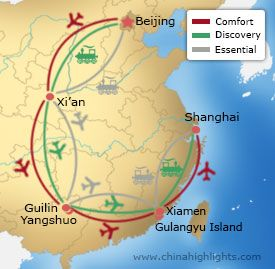 Map of Beijing-Xian-Guilin-Xiamen-Shanghai