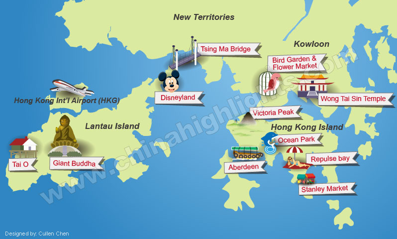 Hong Kong tours map