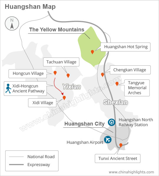 Huangshan attraction map
