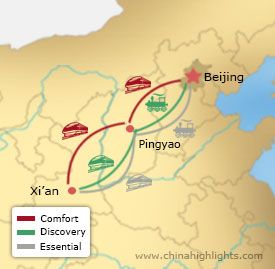 Map of Beijing-Pingyao-Xian