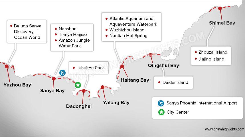 Sanya Beach Map